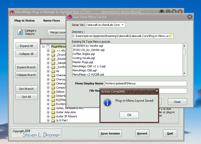 MenuMagic update v2 3 1 released for Cakewalk & Sonar DAWs - KVR Audio